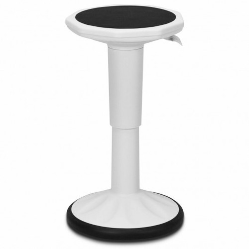 Adjustable Active Learning Stool Sitting Home Office Wobble Chair w/Cushion Seat -White