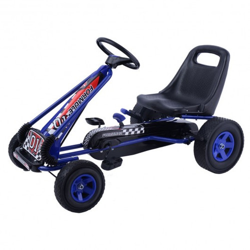 4 Wheels Children Ride On Pedal Powered Bike Go Kart Racer Car Outdoor Play Toy-Blue
