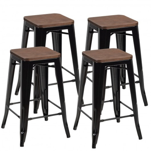 Set of 4 Counter Height Backless Barstool w/Wood Seat-Black