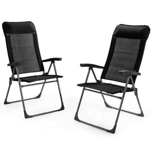 2pc Portable Patio Folding Dining Chairs w/Headrest Adjust for Camping -Black