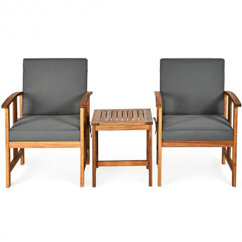 3pc Solid Wood Outdoor Patio Sofa Furniture Set-Gray
