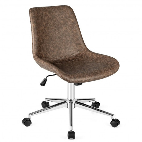 Leather Armless Adjustable Mid-Back Office Chair