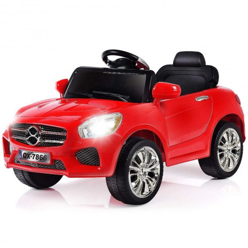 6V Children Remote Control Battery Powered LED Lights Riding Car-Red