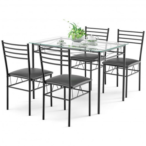 5pc  Dining Set Tempered Glass Top Table & 4 Upholstered Chairs