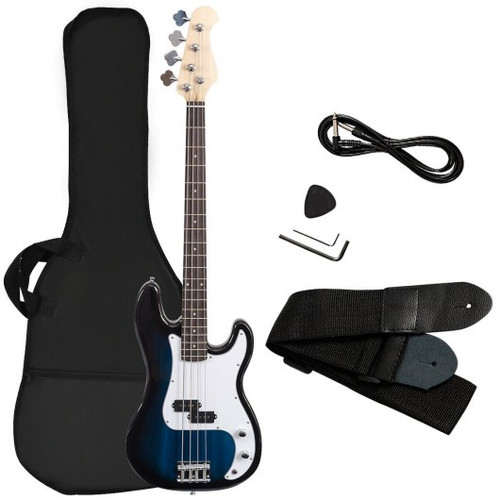 Electric Bass Guitar Full Size 4 String  Strap Guitar-Blue