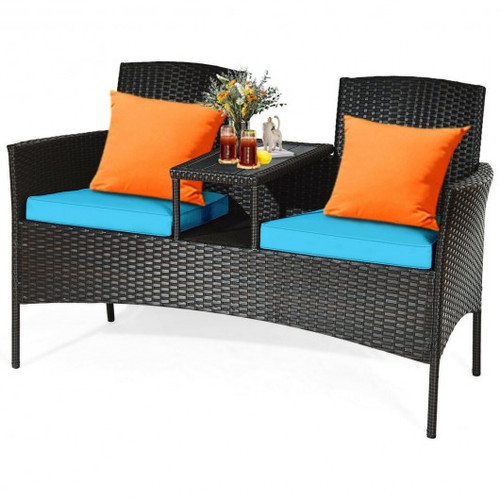 Modern Patio Conversation Set w/Built-in Coffee Table & Cushions -Turquoise