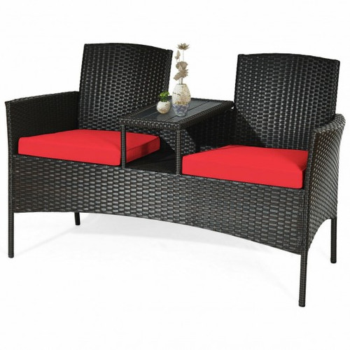 Modern Patio Conversation Set w/Built-in Coffee Table & Cushions -Red