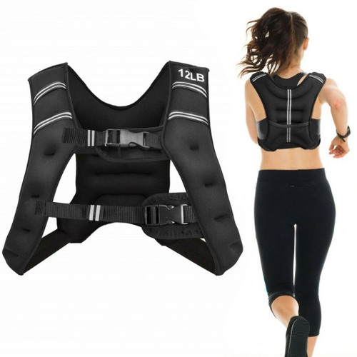 Training Weight Vest Workout Equipment w/Adjustable Buckles & Mesh Bag-12 lbs