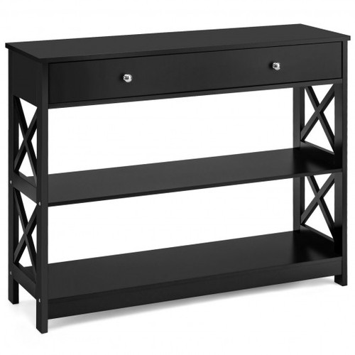 Console Accent Table w/Drawer & Shelves -Black
