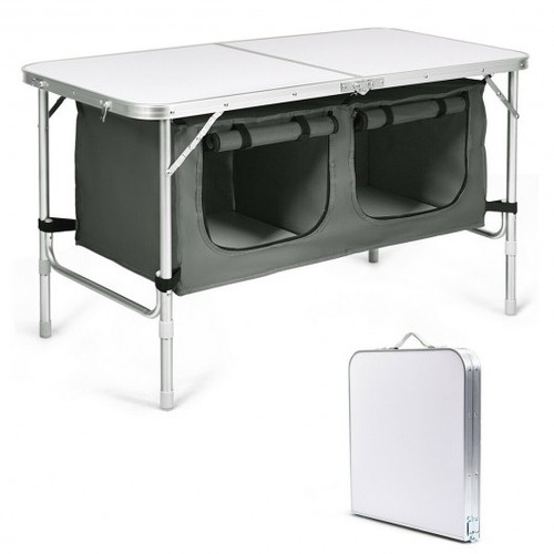Height Adjustable Folding Camping  Table-Gray