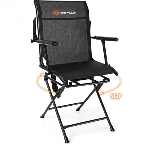 Swivel Hunting Chair Foldable Mesh Chair w/Armrests-Black