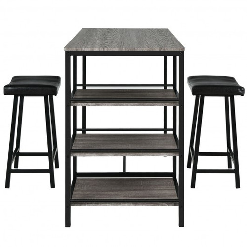 3pc Counter Height Dining Bar Table Set w/2 Stools & 3 Storage Shelves-Black