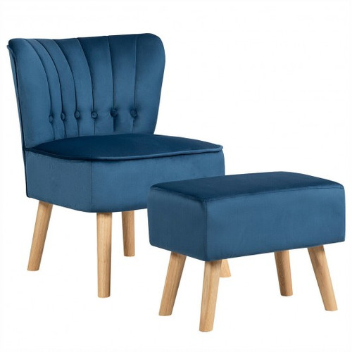 Leisure Chair & Ottoman Thick Padded Tufted Sofa Set-Blue