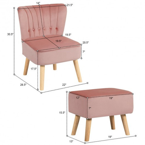 Leisure Chair & Ottoman Thick Padded Tufted Sofa Set-Pink