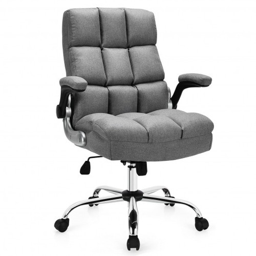 Adjustable Swivel Office Chair w/High Back & Flip-up Arm for Home & Office-Gray