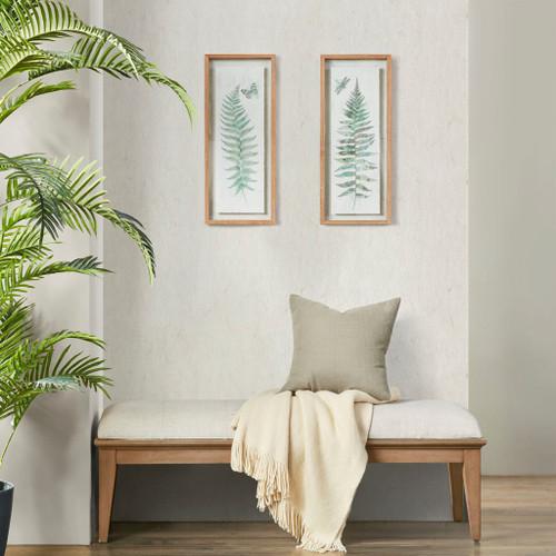2pc Fern Framed Wall Decor Double Glass Pinewood Frame (086569420336)
