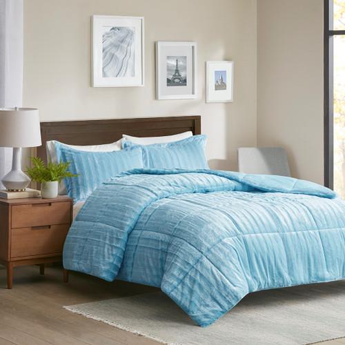 3pc Blue Faux Fur Comforter AND Decorative Pillow Shams (Duke-Aqua)