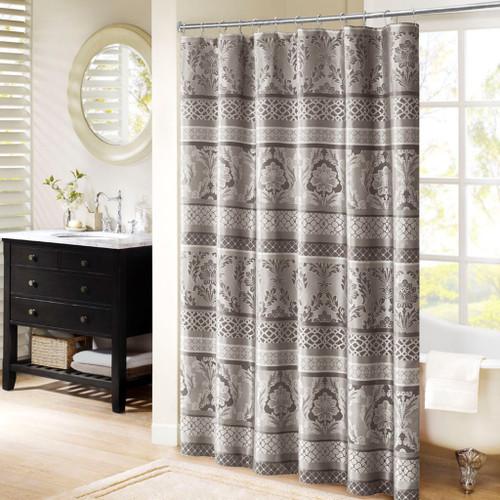 """Grey & Silver Leaf & Ironwork Motif Fabric Shower Curtain - 72"""" x 72"""" (Bellagio-Grey-Shower)"""