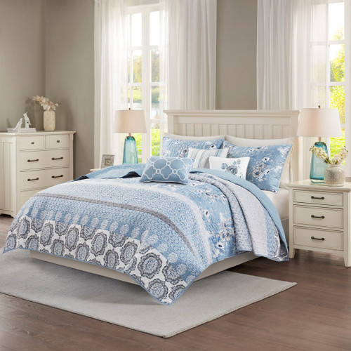 6pc Blue & White Geo Floral Reversible Quilted Coverlet AND Decorative Pillows (Willa-Blue-Cov)