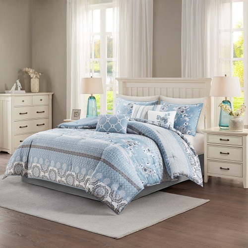 7pc Blue & White Geo Floral Comforter Set AND Decorative Pillows (Willa-Blue-Comf)