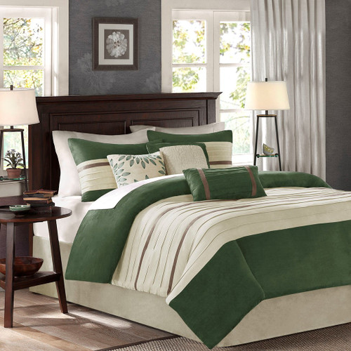 7pc Green & Beige Microsuede Comforter Set AND Decorative Pillows (Palmer-Green)