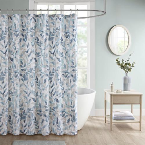 "Blue Grey & White Floral Botanical Fabric Shower Curtain - 72x72"" (Sofia-Blue-Shower)"