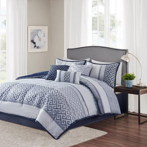 7pc Navy Blue & Silver Geometric Comforter Set AND Decorative Pillows (Bennett-Navy)