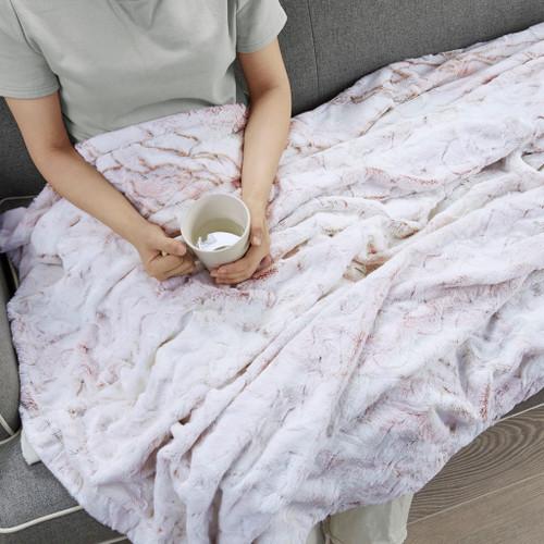 "Blush Marble Print Oversized Faux Fur Throw 60x70"" (086569312266)"