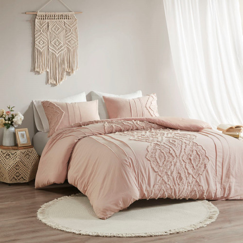 3pc Blush Pink Embroidered Geometric Pattern Cotton Reversible Duvet Cover AND Shams (Margot-Blush-Duv)