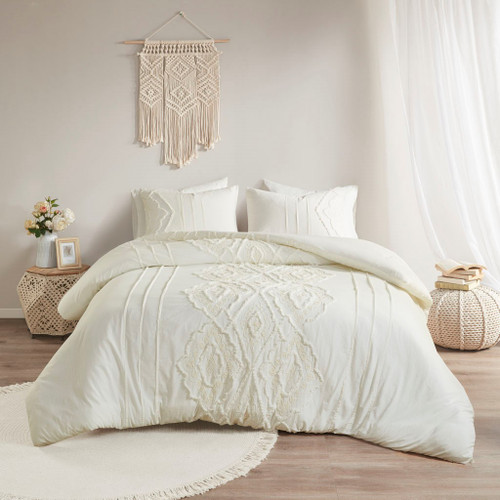 3pc Off-White Embroidered Geometric Pattern Cotton Reversible Duvet Cover AND Shams (Margot-white-Duv)