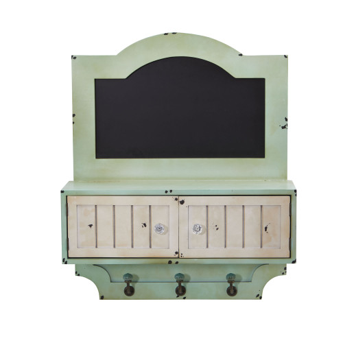 """Multicolor 21.5"""" Vintage Chalkboard Wall Organizer With Doors and Hooks - 21.5"""""""