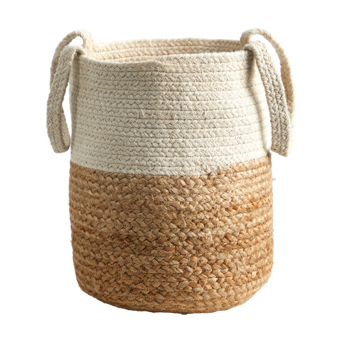 """Multicolor 12.5"""" Handmade Natural Jute and Cotton Planter - 12.5"""""""