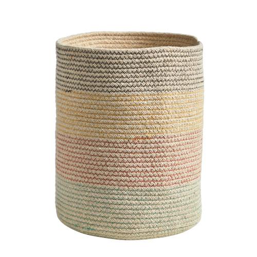 """Multicolor 12"""" Handmade Natural Cotton Multicolored Woven Planter - 12"""""""