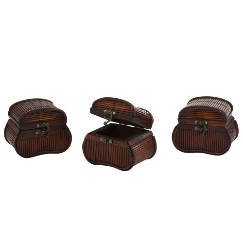 """Multicolor Bamboo Chests (Set of 3) - 4"""""""
