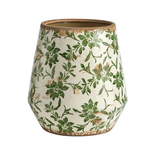 """Multicolor 10"""" Tuscan Ceramic Green Scroll Planter - 12"""""""