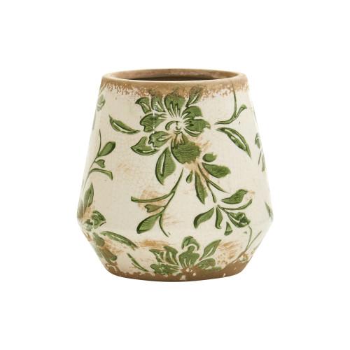 """Multicolor 5.5"""" Tuscan Ceramic Green Scroll Planter - 5"""""""
