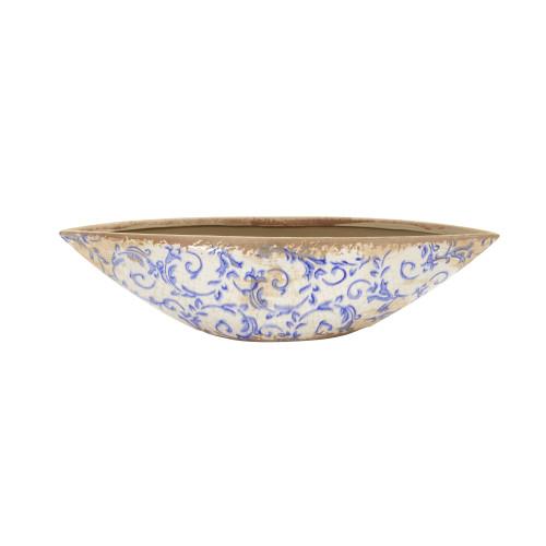"Multicolor 13"" Tuscan Ceramic Blue Scroll Decorative Bowl - 4"""