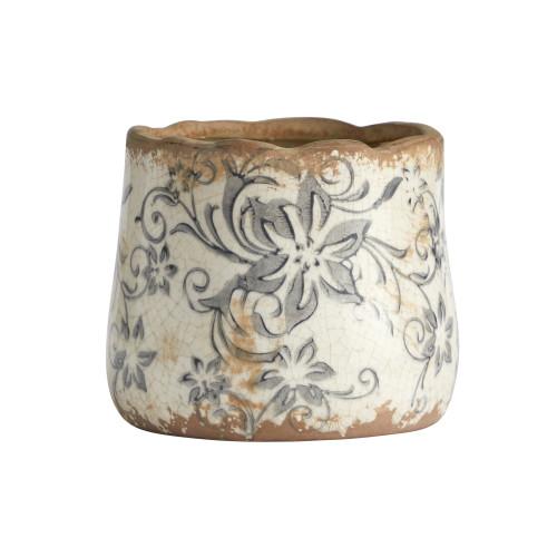 """Multicolor 4.5"""" Tuscan Ceramic Gray Scroll Planter - 3.75"""""""