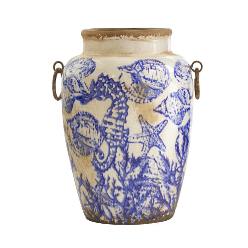 """Multicolor 10.5"""" Nautical Ceramic Urn Vase - 10.5"""""""