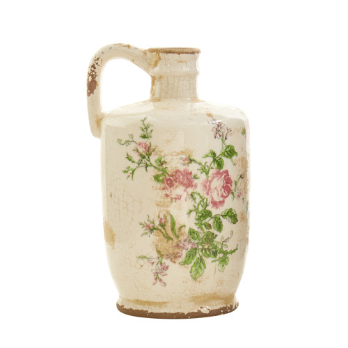 "Multicolor 10"" Tuscan Ceramic Floral Print Pitcher - 10"""