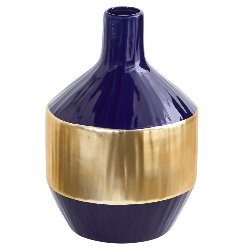 """Multicolor 9"""" Lux Blue Ceramic Vase with Gold Band - 9"""""""