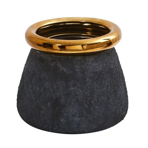 """Multicolor 10"""" Stone Planter with Bronze Rim - 8"""""""