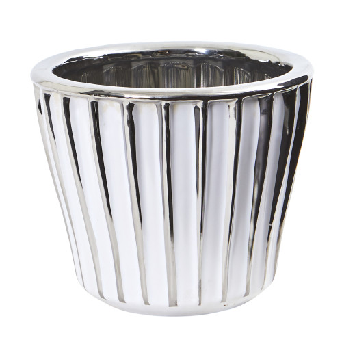 """Multicolor 6"""" White Vase with Silver Trimming - 5"""""""