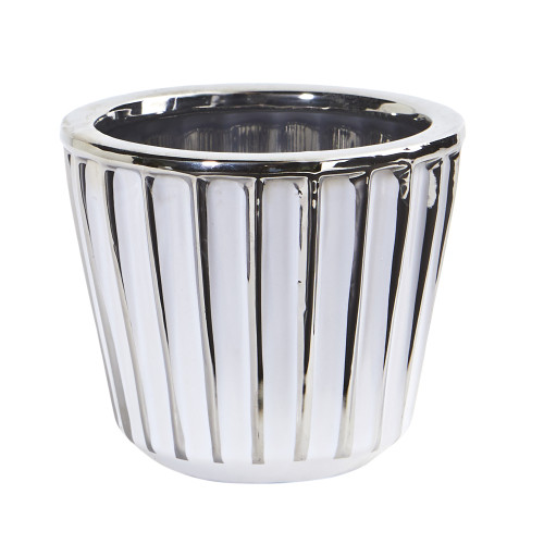 "Multicolor 4.75"" Ceramic White Vase with Silver Burnishing - 4.25"""