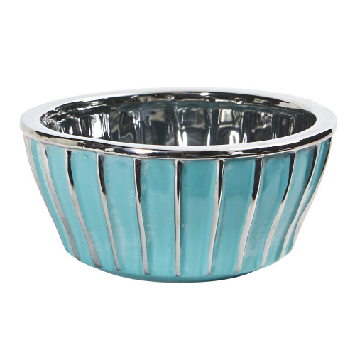 """Multicolor 7.25"""" Teal Vase with Silver Burnishing - 3.5"""""""
