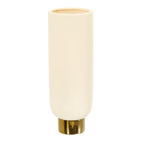 "Multicolor 12.75"" Elegance Ceramic Cylinder Vase with Gold Accents - 12.75"""