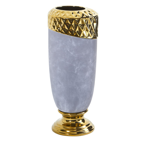 """Multicolor 11.5"""" Regal Stone Vase with Gold Accents - 11.5"""""""