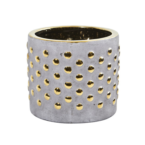 """Multicolor 7"""" Regal Stone Hobnail Planter with Gold Accents - 6.25"""""""