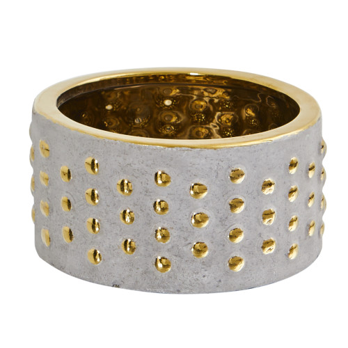 """Multicolor 6.75"""" Regal Stone Hobnail Planter with Gold Accents - 3.5"""""""