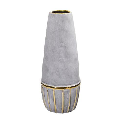"Multicolor 15"" Regal Stone Decorative Vase with Gold Accents - 15"""